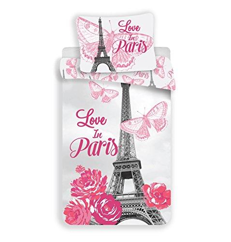 Unbekannt Sweet Home - Bettwäsche-Set aus 100% Baumwolle - Liebe in Paris - 140 x 200 cm + 70 x 90 cm (Paris Bettwäsche-set)