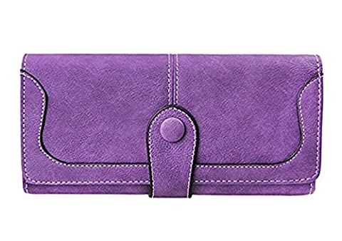DWE Ladies Leather Wallet, Fashion Retro Large Button Phone Wallet Coin Purse Handbag Card Holder Case