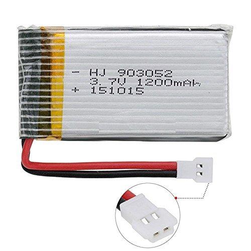 YUNIQUE ITALIA® 1 Pezzo Batteria Lipo Ricaricabile (3.7v, 1200mAh Lipo) per Rc Droni Quadricotteri Syma X5SC X5SW