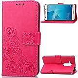 Lomogo Cover Huawei Honor 5C/7 Lite/GT3 Portafoglio, Custodia a Libro Pelle Porta Carte Chiusura Magnetica Antiurto Flip Wallet Case per Huawei Honor 5C - LOSDA040554 Rosa Caldo