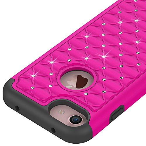 iPhone 7 Hülle, Valenth Rhombus Kristall hart zurück Hülle Dual Layer Defender Case Schutzhülle für iPhone 7 Lime / Schwarz Deeppink/Black