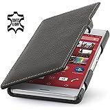 StilGut® Book Type Case mit Clip, Tasche aus Leder für Sony Xperia Z3, schwarz
