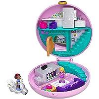 Polly Pocket Coffret Univers Soirée Pyjama Donuts, 2 mini-figurines, accessoires, autocollants et surprises cachées, jouet enfant, GDK82