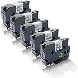 5x Schriftband kompatibel für Brother TZE-251 P-Touch D 600 VP P-Touch E 500 VP P-Touch E 550 W VP TZ251 laminiert TZ-251 24 mm x 8 m Schwarz auf Weiss