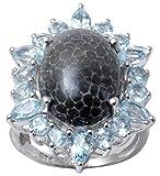 Banithani 925 Sterling Silber Blauer Topas und schwarze Koralle Steinring Frauen Fashion Schmuck