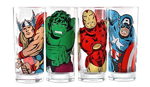 Marvel 4-Teiliges Gläserset mit Den Charakteren Bedruckt