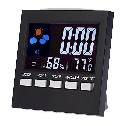 KKmoon Multi-funzionale colorato digitale LCD Termometro Igrometro Orologio Snooze funzione calendario Previsioni Meteo display