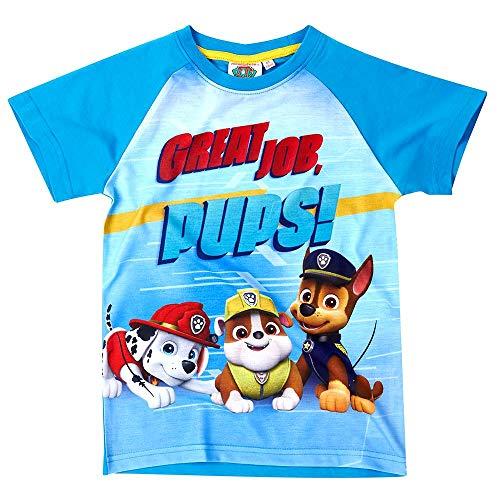 Paw Patrol Kinder T-Shirt Jungen Heldenhafte Hunde | Größe 98-128, Größe:104, Farbe:Hellblau