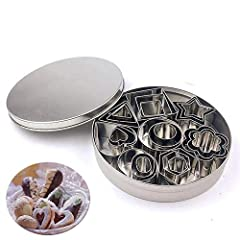 Idea Regalo - Set di 24 Stampi per Biscotti in Acciaio Inox 8 Modelli in 3 Dimensioni(Cuore Fiore Stella Cerchio Quadrato Rettangolo Triangolo Ovale)