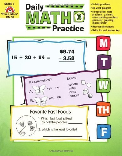 Daily Math Practice, Grade 3 by Evan-Moor Educational Publishers (1999) Paperback