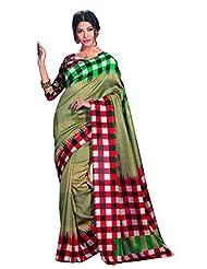 Infigo Women Beige Bhagalpuri Silk Printed Saree - B00UFGCULQ