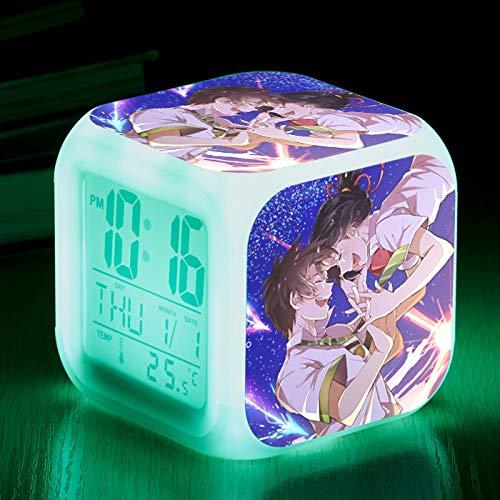 piaolinglifang store LED quadratischer Kleiner Wecker Sieben Farblichter mit Temperaturanzeigen-Weckfunktion Wecker-Animationsspiel-Peripheriewecker m001-1918