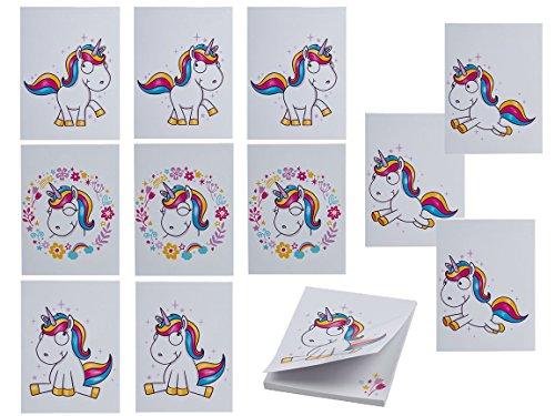 Bada Bing 12er Sparset Notizblock Mini Einhorn Comic Unicorn Weiß Malblock Mitbringsel...