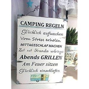 Camping Regeln Schild im Shabby Vintage Style Größe 297 mm x 210 mm, Weiß/Blau