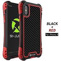 iPhone x case 360 ° Vollschutz, Licht, Staub, Fallschutz, mit gehärtetem Glas (Schwarz und Rot)