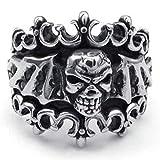 Adisaer Ring Silber Jugendstil Ring Herren Punk Schwarz Silber Unregelmäßig Schädel Ring Größe 71 (22.6) Vintage Bandringring Hip Hop Weihnachten Ringe Für Freund