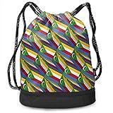 ewtretr Turnbeutel Hipster Sporttaschen Drawstring Bag Comoros Flag 3D Art Pattern Shoulder Bags...