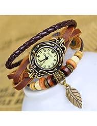 SODIAL(R) Reloj de Pulsera Cuarzo Banda de Cuero Estilo Antiguo para Chica Mujer - Cafe