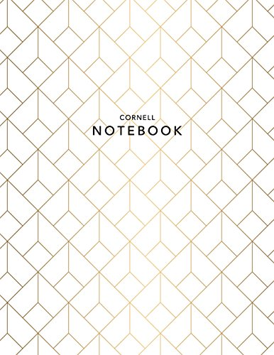 Cornell Notebook: Gold Geometric | 120 White Pages 8.5x11 | Note Taking System for Students + Professionals (College Notebooks)