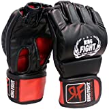 Ring Fight MMA UFC Grappling Gloves (Open Finger) Black/Red Large/X-Large