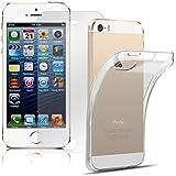 Hülle + Glasfolie Set für iPhone SE 5S TPU Silikon Case in Transparent Durchsichtig und ...