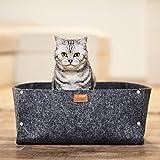 Lit de chat premium de PiuPet avec coussin | Convient comme couverture pour les petits chiens | Lit de chat de haute qualité en gris | Chaleureuse grotte de chat | Panier douillet pour chaton |