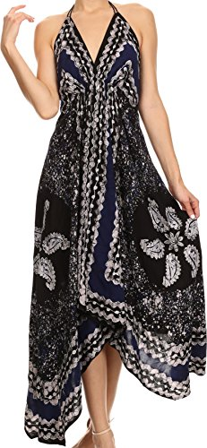 Sakkas Aleayma trägerlose lange Adjustable Bead gestickte Gefärbtes Halter Top-Kleid Schwarz / Navy