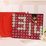 SED Flores Artificiales - 99 Caja De Regalo De Flor De Jabón De Rosa Flores De Simulación Enviar Novia De Novia Regalo Creativo Regalo De Flor De Jabón, Rojo,1314