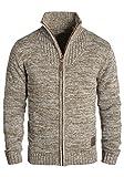 !Solid Pomeroy Herren Strickjacke Cardigan Grobstrick Winter Pullover mit Stehkragen, Größe:3XL, Farbe:Dune (5409)