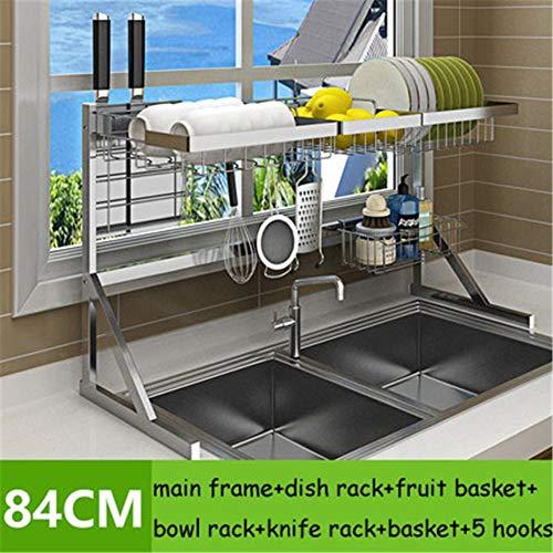 WSN Geschirrabtropfständer,Spülmaschine Wäscheständer Edelstahl Küchenablage Theke Ablage Display platzsparend unerlässlich,84cmsilver