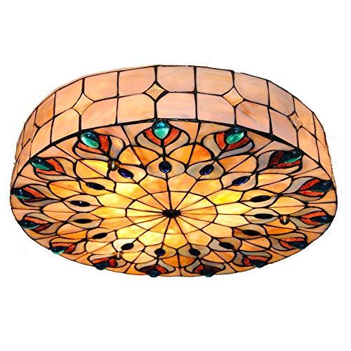 LIXDD Europäische 16-Zoll-Deckenleuchte, Tiffany-Art-Deckenleuchte-kreative befleckte Schale vertiefte helle Leuchter für Schlafzimmer-Restaurant-Wohnzimmer-Deckenleuchte - Vertiefte Schale