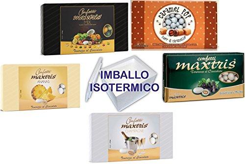 Confetti maxtris kit da 5 kg per confettata per bomboniere 5 gusti diversi imballo polistirolo isotermico 5 kg=5 pacchi