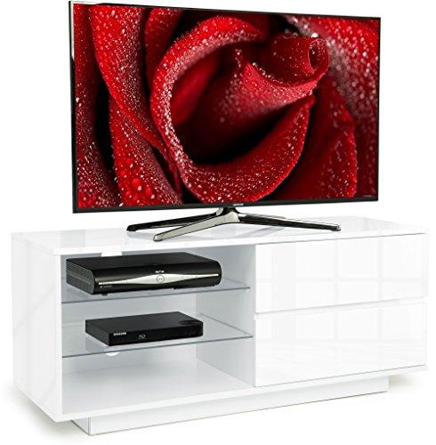 Centurion - Meuble TV Gallus blanc brillant avec 2 tiroirs blanc brillant et 3 étagères pour écran 26 à 55 pouces LED/ LCD / OLED