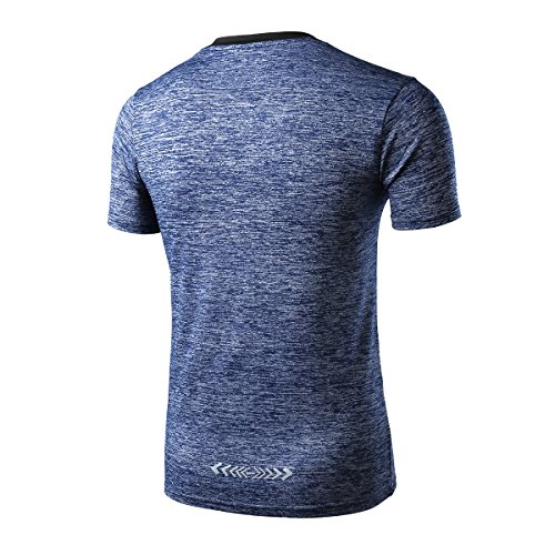RoxZoom Herrn Sport T-Shirt, Schnell Trocknen Training Atmungsaktives Athletisches T-Shirt, XL, Hellgrau Marineblau