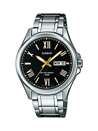 Casio Men's Quartz Watch with Black Dial Analogue - Digital Display and Silver Stainless Steel Strap MTP1377D-1AVEF Best Price and Cheapest