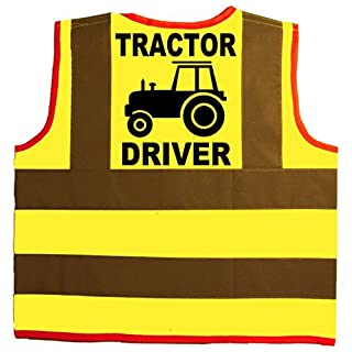 Tractor Driver Baby/Children/Kids Hi Vis Safety Jacket/Vest Size 4-6 Years Yellow Optional Personalised On Front