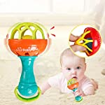 Gemini_mall 1pc Baby Teether Rattles Toys Develop Intellement Grasping Gums Plastic Hand Bell Rattle Educational Toy for Baby Boys and Girls Xmas Birthday Gifts Stocking Fillers
