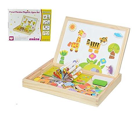 Magnetische Puzzle, 100tlg Lernspielzeug Magnetisches Puzzle aus Holz Spielzeug Holzpuzzles für Kinder ab 3 Jahren - Beliebte Pädagogische Lernspielzeug (Forest (Küche Pretend Spielset)