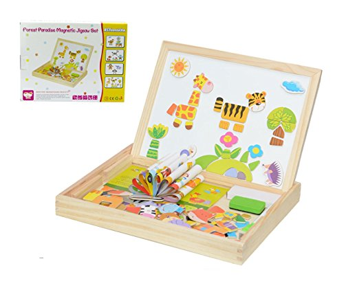 Tablero de Dibujo Magnético de Madera Doble Cara Magnético Rompecabezas Juguetes Juguetes Educativos - Juguetes Educativos Populares del Aprendizaje (Forest Park)