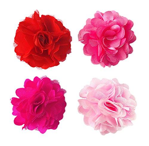 BIPY 4 x 5 cm rosa Hundehalsbänder Blumen Charms Slides Blumen Schleifen für Katzen Welpen Kleine mittelgroße Hunde Fellpflege-Zubehör