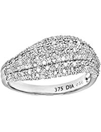 Naava Women's 9 ct White Gold 4 Prong Set Round Brilliant Cut 0.50 ct Diamond Wave Ring