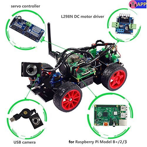 SunFounder Roboterbausatz Smart Video Car Kit Programmierbarer Auto-Roboter for Raspberry Pi with Android App, Compatible with RPi 3, 2 and RPi 1 Model B+ (Pi Not Included) (Black Acrylic) (MEHRWEG) -