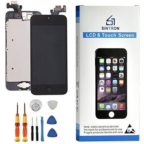 Sintron OEM LCD Bildschirm Ersatz - Für iPhone 5 Schwarz Komplett Montiert Einschließlich Originalteile Frontkamera, Näherungssensor, Hörmuschel Lautsprecher, LCD Bildschirm, Home Button + Werkzeug