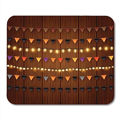 Mouse Pads Happy Halloween Buntings and Shiny Lights Black and Orange Festive Party Flags and Chains Christmas Mouse Pad for notebooks,Desktop Computers mats Office Supplies (Happy Halloween Desktop)