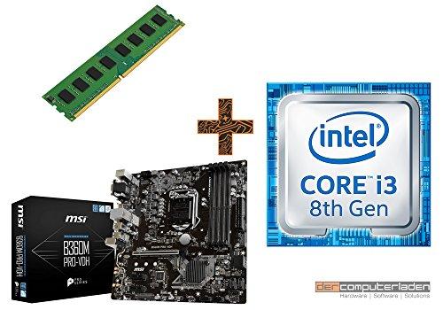 PC Aufrüstkit Intel, i3-8100 4x3.6 GHz, 4GB DDR4, Intel UHD Grafik 630-1GB, Mainboard Bundle, Tuning Kit, fertig montiert, Spiele Office zusammengestellt in Deutschland Desktop Rechner