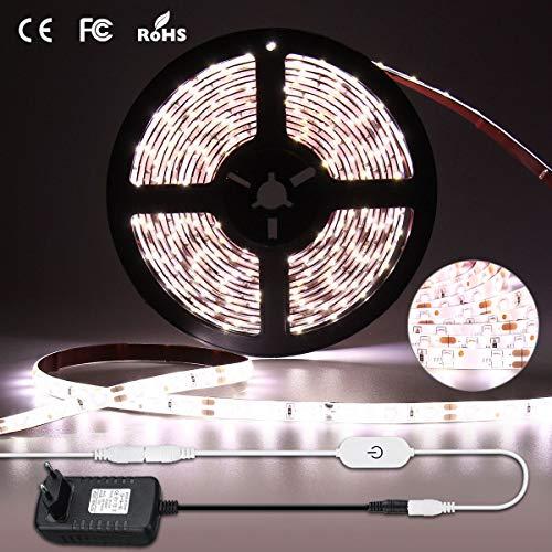 Elfeland LED Streifen Weiß LED Stripes Bänder Strip Lichtleiste 300 LEDs SMD2835 6000k Dimmbar Stimmungslicht Lichterkette LED Lichtband IP67 Selbstklebend Hintergrundbeleuchtung für Innen Außen 5M