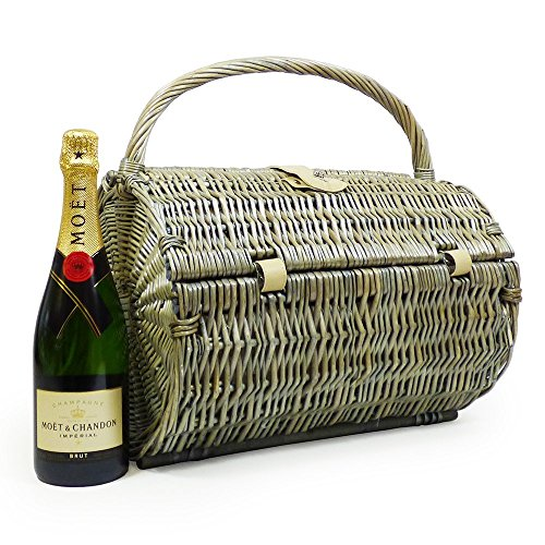 750ml Moet et Chandon Champagne Brut in a Harrington 2 Person Wicker Picnic Hamper Basket - Gift Ideas for Christmas, Birthday, Anniversary, Business, Corporate, Wedding, Congratulations, Thank you
