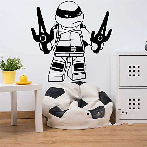 Wandaufkleber Brave Anime Ninja Turtle Mit Erstaunlichen Waffen Coole Superhelden Abziehbild Jungen Zimmer Baby Kinderzimmer Schlafzimmer ()