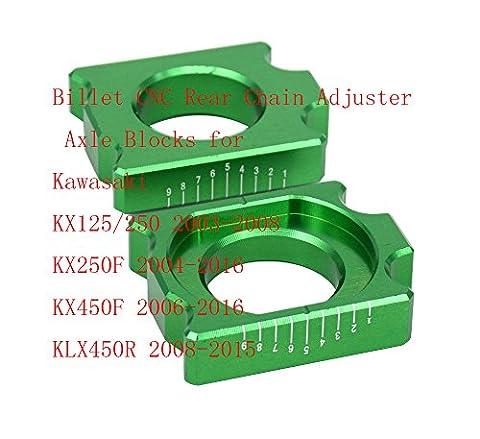 Billet CNC Rear Chain Adjuster Axle Blocks for Kawasaki KX125
