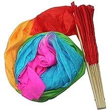 TOOGOO (R) Nueva 1.8M Hecho a mano del vientre Danza Bailar Seda Bambu Los Aficionados Largos Velos Arte Coloridas
